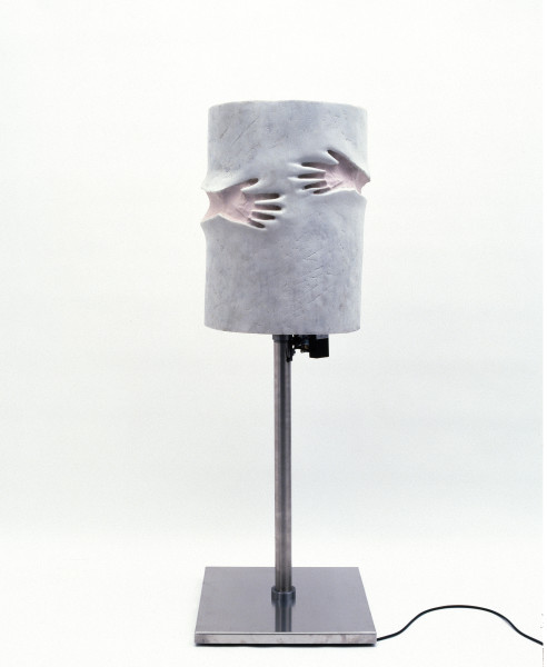 Julie Rrap Prosthetic Knight, 1997; fibreglass, rubber, marble dust, stainless steel base, electric motor; enquire