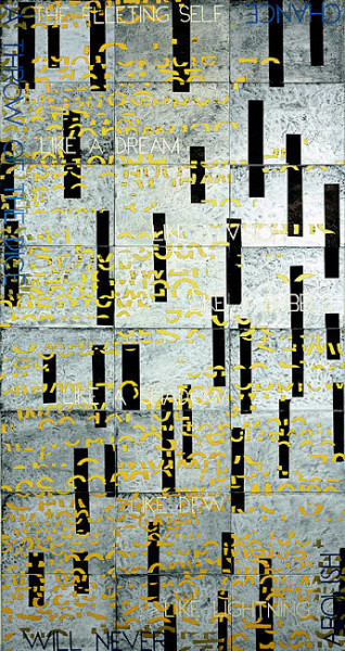 Imants Tillers The Fleeting Self IV, 2010; acrylic, gouache on 24 canvasboards; 203 x 106 cm; enquire