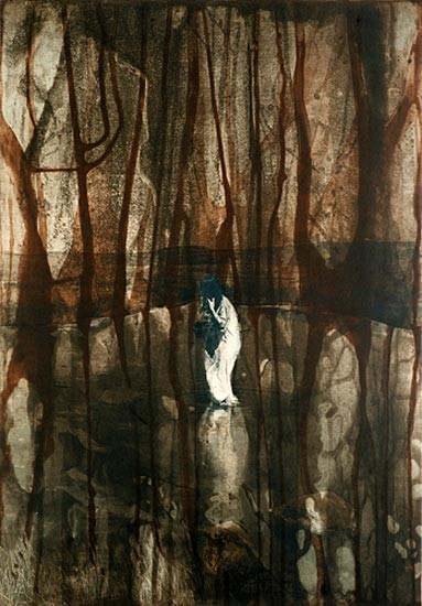 David Noonan Untitled, 2005; Etching, photo-etching, spit bite and aquatint, printed in 3 colours from two copper plates and one aluminium photo-etching plate; 64 x 45 cm; enquire