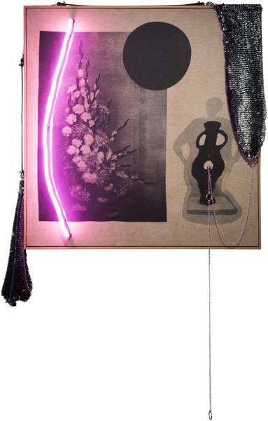 Sarah  Contos Strawberry Milk With Vodka, 2015; Screen print on linen, neon, transformer, leather, hardwares, chain, steel, artist's jumper, wool and thread; 172.4 x 100.3 x 8 cm; enquire