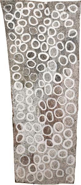Nyapanyapa Yunupingu untitled, 2015; 4867S; Bark painting; 151 x 65 cm; Enquire