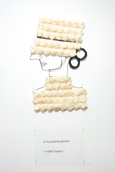 Jacqueline Fraser A true portrait glanced >, 2003; from the series AN ELEGANT PORTRAIT REFINED IN ELEVEN STUDIOUS PARTS >; wire, pom-pom ribbon from Chelsea, N.Y; 85 x 35 cm; enquire