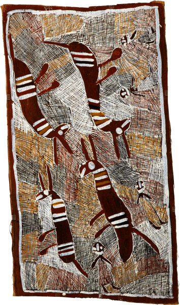 Nyapanyapa Yunupingu 4 Buffalos 4 Wendys, 2008; natural earth pigments on bark; 112 x 62 cm; enquire