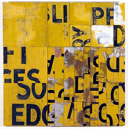 Rosalie Gascoigne Southerly Buster, 1995; retro-reflective roadsign on craftboard; 117 x 115 cm; enquire