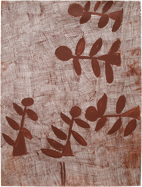 Nyapanyapa Yunupingu Djorra (paper) 15, 2014; TPA078b; felt tip pen, earth pigments on discarded print proofs; 75 x 56 cm; Enquire
