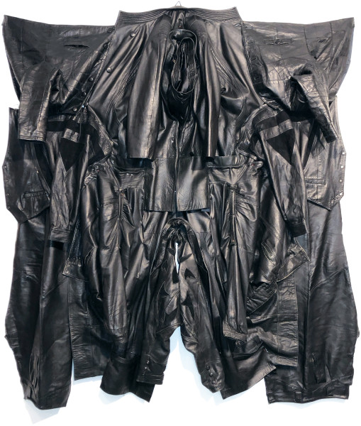 Sarah  Contos Voltron I (Black), 2019; repurposed leather jackets, hardware, thread; 195 x 204 x 20 cm; Enquire
