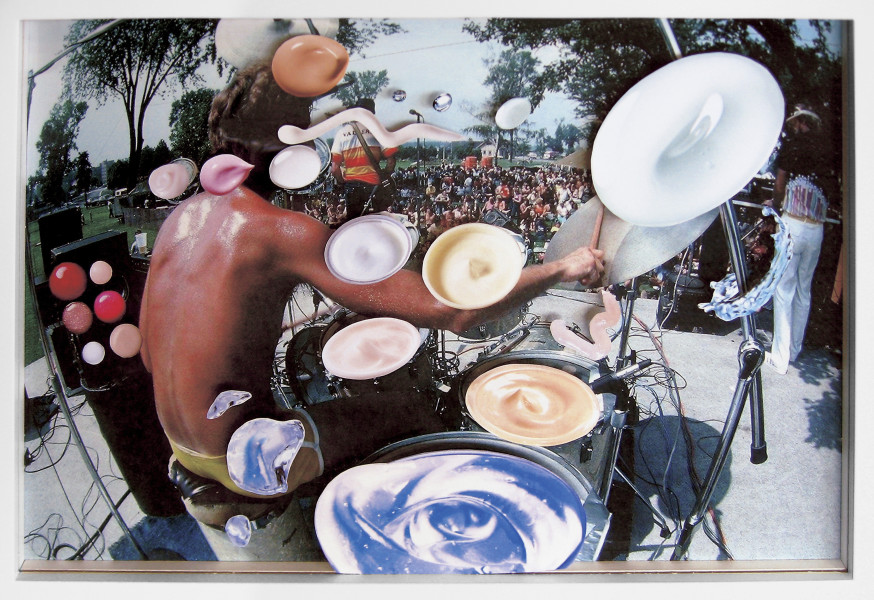 Teppei Kaneuji Sea and Pus (Photograph of Drummer), 2006; chromogenic print collage of printed material on acrylic; 24 x 36 x 3 cm; enquire