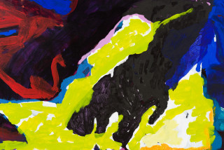 Tom Polo fear of falling (detail), 2021; acrylic and Flashe on canvas; 198 x 213 cm; enquire
