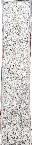 Nyapanyapa Yunupingu 14. White Painting #1, 2009; 3564N; Natural earth pigments on bark; 158 x 33 cm; enquire