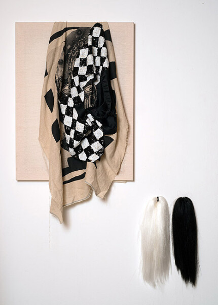 Sarah  Contos Lightening for a Snowstorm, 2014; Screenprint on linen, calico, artists' sequined waistcoat, thread, synthetic wigs; 2 parts: 100 x 60cm, 40 x 20cm; enquire