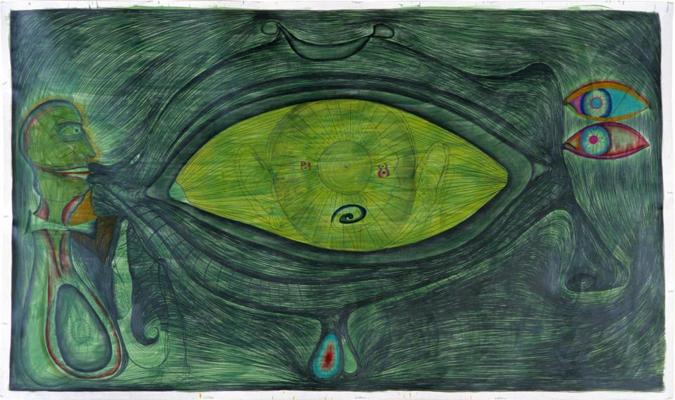 Dale Frank The Kiss, 1985; pencil on paper; 182 x 310 cm; enquire