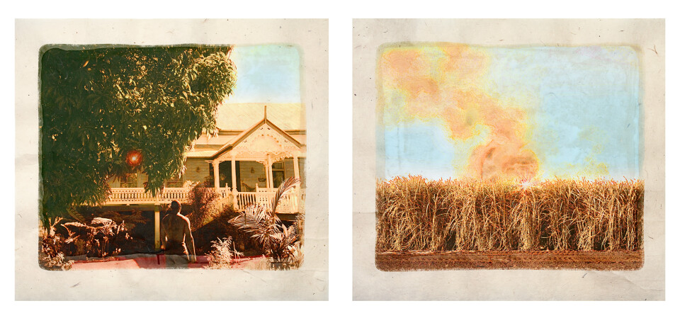Tracey Moffatt Plantation (Diptych No. 7), 2009; digital print with archival pigments, InkAid, watercolour paint and archival glue on handmade Chautara Lokta paper; 46 x 50.5 cm (each); Edition of 12 + AP 2; enquire