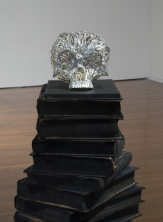 Fiona Hall Untitled [Out of my tree], 2014; aluminium, burnt books; 152 x 120 x 59.5 cm; enquire