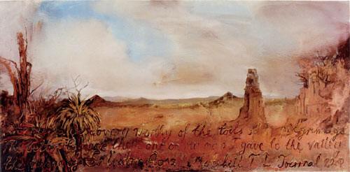 Mandy Martin Valley of Salvator Rosa, 2002; oil, ochre & pigment on linen; 135 x 275 cm; enquire