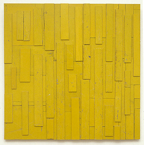 Rosalie Gascoigne Rain and Shine, 1998; retro reflective roadsign on wood; 120 x 122 cm; enquire