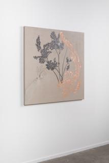 installation view; Caroline Rothwell Arrangement for The Galapagos (Gymnogramma chaerophylla, after Darwin), 2018; Belgian linen, graphite, copper, hydrostone, gesso; 107 x 107 cm; Enquire