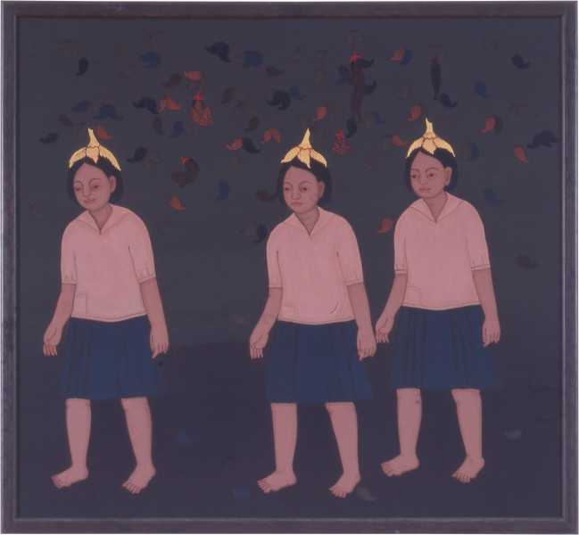 Phaptawan Suwannakudt Nariphon III a, 1996; acrylic on silk, one panel; 90 x 90 cm; enquire