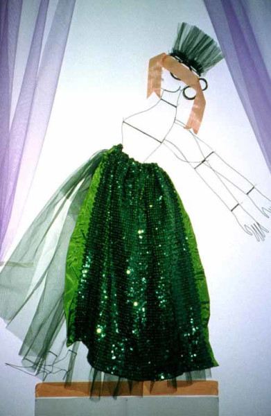 Jacqueline Fraser Number nine, 2001; from the series The Acute Massacre of the Blessed by the Cruel Scientific Curse. >; ribbon, laminated tracing paper, wire, green tulle, green sequins; 255 x 90 cm; enquire