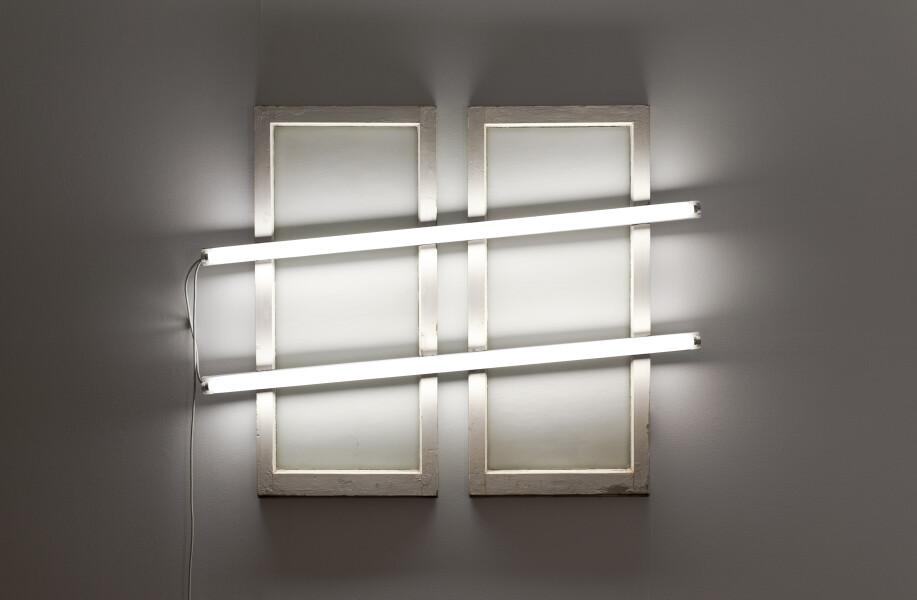Bill Culbert Double window, 2009; glass, fluorescent lights, wood, house paint; 120 x 150 x 10 cm; Enquire