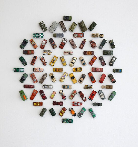Claire Healy and Sean Cordeiro Autoflake GBG78, 2012; toy cars, magnets; 78 x 80 x 4 cm; enquire