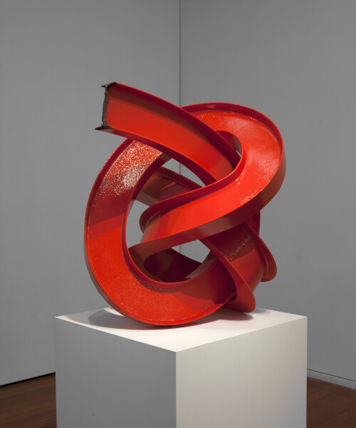 James Angus I-beam Knot (Red), 2012; from a series of 5 colours; steel, enamel paint; 85 x 80 x 80 cm; 95 kg; enquire