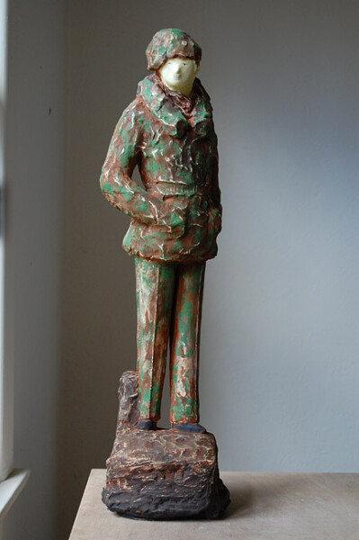 Linda Marrinon Monty in Camouflage, 2010; painted plaster; 73 x 20 x 17 cm; enquire