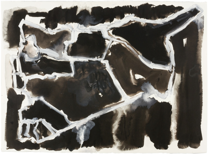 Fiona Hall Cage (Syria map 7), 2017; Cat no. 47; gouche and tapa dye on rag paper; 57 x 76 cm; enquire