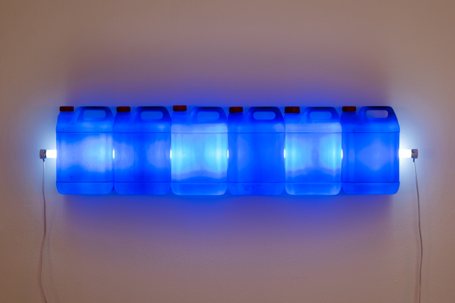 Bill Culbert Strait (Blue), 2015; fluorescent light, plastic bottles; 28 x 120 x 12 cm; enquire