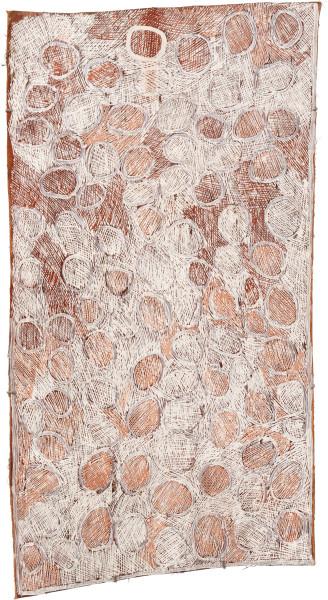Nyapanyapa Yunupingu 30. Mangutji #4, 2010; 3717A; Natural earth pigments on bark; 133 x 70 cm; enquire