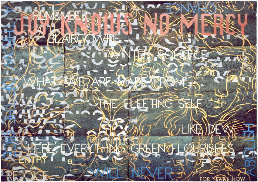 Imants Tillers Nature Speaks: BR, 2009; acrylic, gouache on 16 canvasboards, no. 85064 - 85079; 102 x 143 cm; enquire