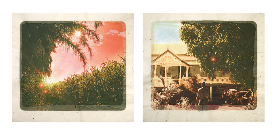 Tracey Moffatt Plantation (Diptych No. 3), 2009; digital print with archival pigments, InkAid, watercolour paint and archival glue on handmade Chautara Lokta paper; 46 x 50.5 cm (each); Edition of 12 + AP 2; enquire