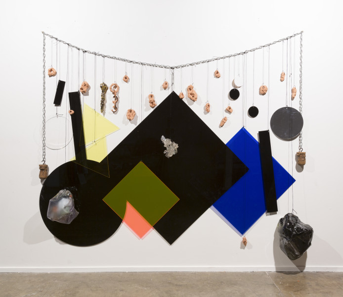 Mikala Dwyer Wall Necklace, 2018; Perspex, acrylic, steel, rope, bronze, ceramic, wood; 220 x 240 cm; Enquire
