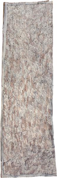Nyapanyapa Yunupingu Untitled, 2012; 4204J; natural earth pigments on bark; 192 x 63 cm; enquire