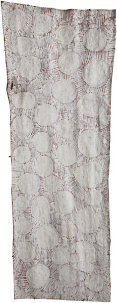 Nyapanyapa Yunupingu untitled, 2018; 4194-18; natural earth pigments on bark; 209 x 80 cm; Enquire