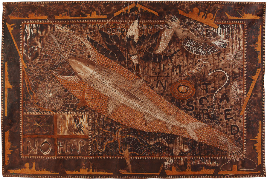 Fiona Hall Moat, 2011; Tongan tapa dye and Tongan ochre on canvas; 210 x 314 cm; enquire
