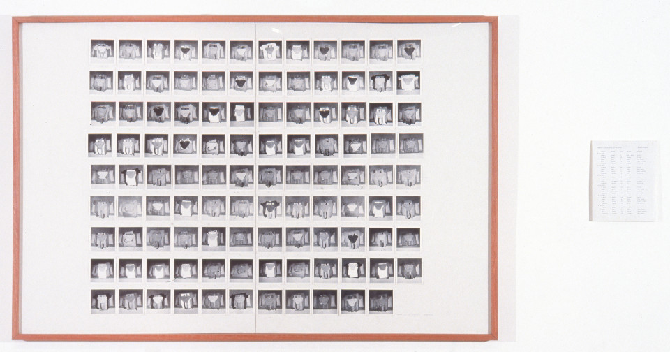 Robert Rooney Garments, 1972; black and white photographs and pencil on board, paper; 100  x 151, 25.5 x 20.2 cm; enquire
