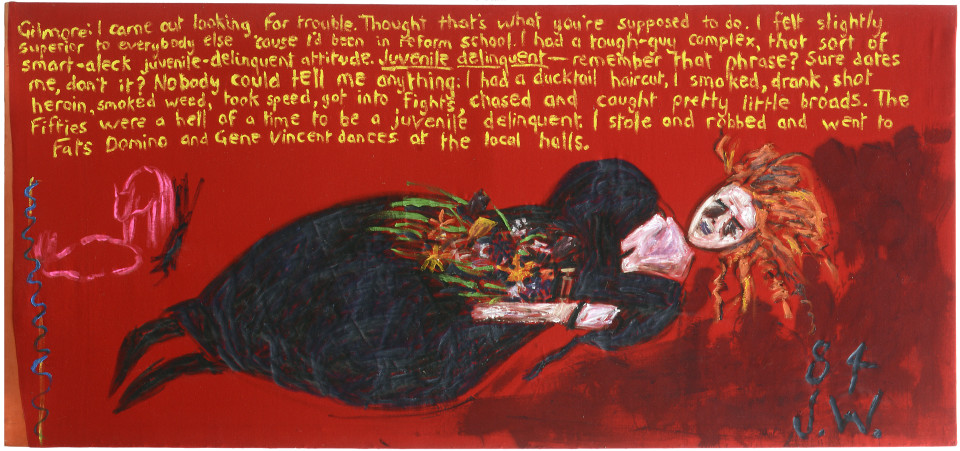 Jenny Watson Australian artist of the 80's as a Lady and Ophelia, 1984; Oil on velvet; 85 x 180.2 cm; enquire