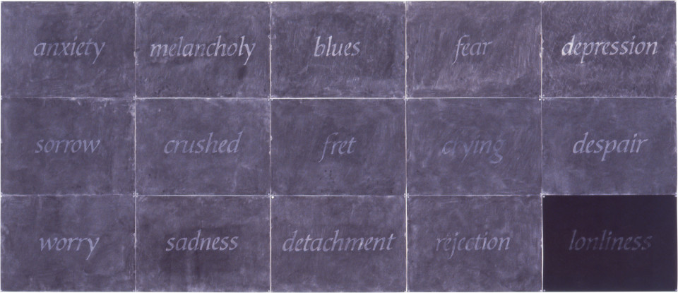 Fiona Foley In the meantime, 1998; charcoal and ink on paper; 15 panels, 150 x 350 cm; enquire