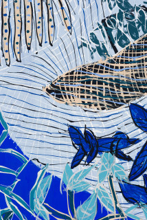 Dhambit Munuŋgurr Welcoming the Refugees / Scott Morrison and the Treasurer (detail), 2021; 2812-21; 1919-21; earth pigments and acrylic on bark; two panels: 241 x 108 cm; 260 x 102 cm; enquire