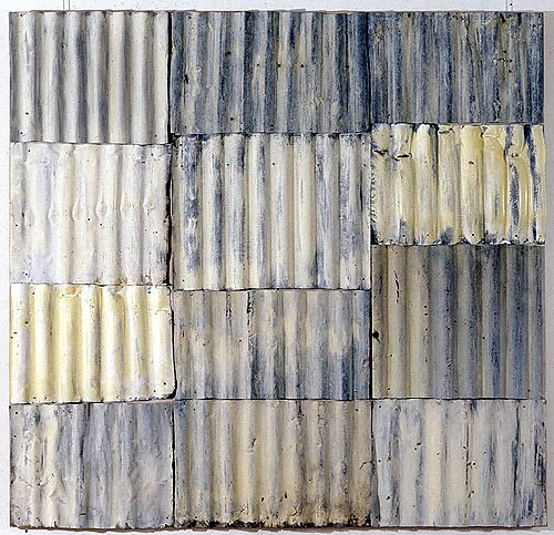 Rosalie Gascoigne White Garden, 1995; corrugated iron on wood; 184 x 177 cm; enquire