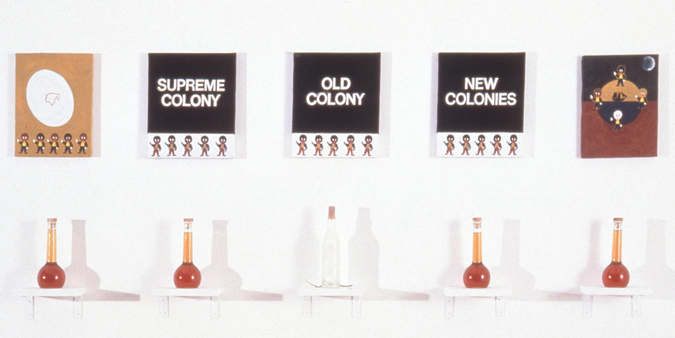 Fiona Foley A Question of Indigena, 1994; canvas, acrylic, glass bottles, honey, milk, snake; installation, approximately 72 x 197 cm overall size; enquire