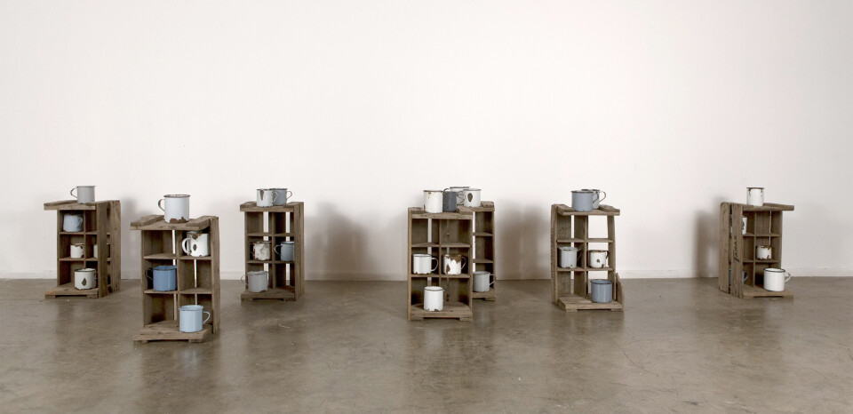 Rosalie Gascoigne Habitation, 1984; 32 enamel mugs & 7 woooden drink crates; each crate approx  45 x 28 x 24 cm; enquire