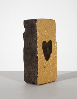 Nell Love cries out from each brick in the wall, 2013; convict brick, gold leaf, varnishes; 22.5 x 11 x 6.5 cm; enquire