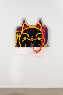 Claire Healy and Sean Cordeiro Manenki Neko, 2020; Iroquois aircraft panel, acrylic gouache, polyester cord; 70 x 85 x 7 cm; enquire