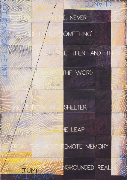 Imants Tillers Be the Leap, 2019; synthetic polymer paint, gouache on 32 canvasboards, nos. 106390–106241; 202 x 141.5 cm; Enquire