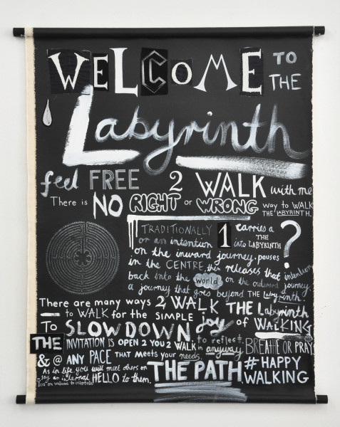 Nell Welcome to the Labyrinth, 2015; acrylic and mixed media on linen, wood;  x 76 cm; enquire