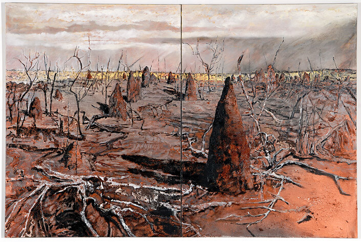 Mandy Martin Wanderers in the desert of the real; Tanami spinifex fires, 2008; Ochre, pigment, and oil on linen; diptych, overall 180 x 270 cm; enquire