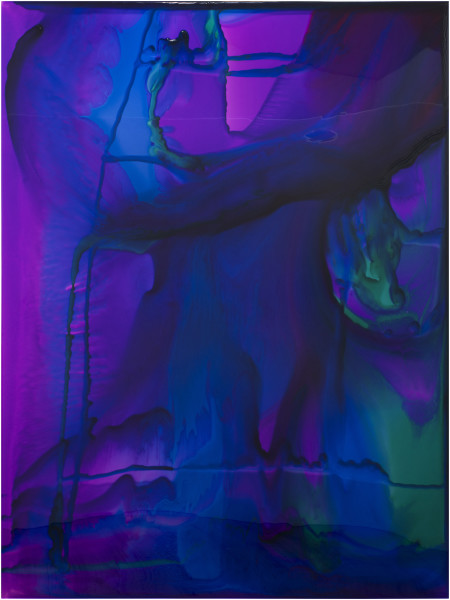 Dale Frank He could only sleep in stiff dirty soiled sodden bedsheets, 2018; varnish and Epoxyglass on Perspex; 200 x 150 cm; Enquire