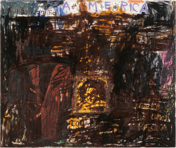 Jenny Watson America, 1987; oil, gouache, acrylic, Indian pigments and Indian cotton on duck; 147.5 x 175.5 cm; enquire