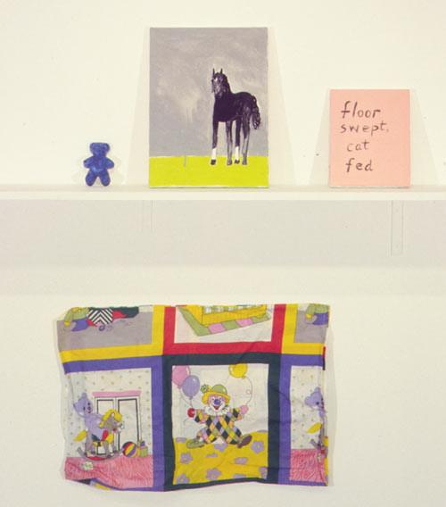 Jenny Watson Floor Swept, Cat Fed  No. 5  (Al), 1999; acrylic on stretcher, painted plaster mould, rabbit skin glue-primed pillow slip; 16'' x 12'', 10'' x 8'', 3'' x 2'', 30'' x 18''; enquire